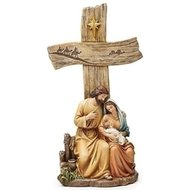 "NATIVITY 12.25""H HOLY FAMILY CROSS W/WOOD FINISH"