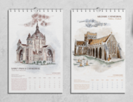 2022 Church Architecture and Feast Day Calendar by Grace Raney, Rose & Thorn Artistry