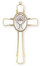 "4"" Communion Cross WHITE Enamel w/Gold Chalice & Trim"
