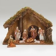 "FONTANINI NATIVITY 5"" SCALE 8 FIGURE NATIVITY W/ITALIAN STABLE"