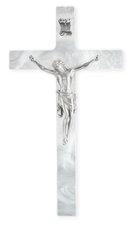 "7"" Crucifix Baby Pearl White w/silver corpus"