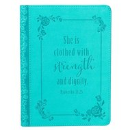 Strength and Dignity Turquoise Flexcover Journal - Proverbs 31: 25