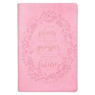 Journal I Know the Plans - Embossed PINK Leather