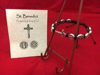 Bracelet St Benedict Corded BLK w/Crucifix