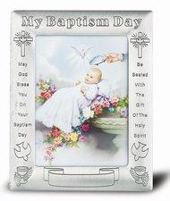 Baptism Frame Pewter 5x7