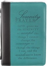 Serenity Prayer Two-Tone Bible Cover in Aqua (Large)