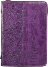 Faith - Bible Cover Purple Luxleather Lg