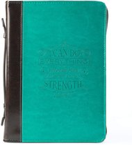 """Bible Cover LuxLeather """"I Can Do"""" Turquoise Phil 4: 13 Lg; Bibles up to 9.50 x 6.75 x 2.25 inches"""