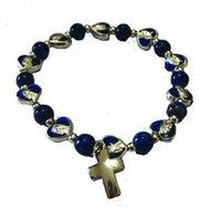 Bracelet-Dark Blue Enamel Heart Shaped Stretch with Silver Tone Cross