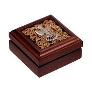 Confirmation mahogeny hinged box with pewter holy spirit inlay