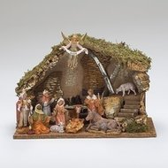 "FONTANINI NATIVITY 5"" SCALE 11 FIGURE NATIVITY W/ITALIAN STABLE"