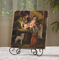 Holy Family Tile Plaque w/Stand