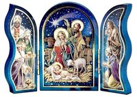 Nativity Triptych with Lamb, Wisemen, and Shepherd
