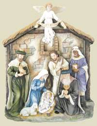 Nativity wall plaque from the Veronese Collection in hand-painted relief, 13x16x2.75inches