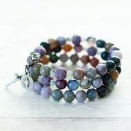 Rosary Bracelet Our Lady of Lourdes Memory Wire Essential Oil Diffuser Beads