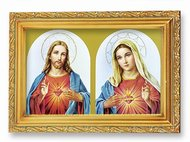 The Sacred Hearts 4.5 x 6.5 Antique Gold Frame with Glass Easel Back or Wall Hanger, Italian Lithograph, Boxed