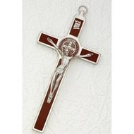 "3"" Crucifix St Benedict Wood Inlay"